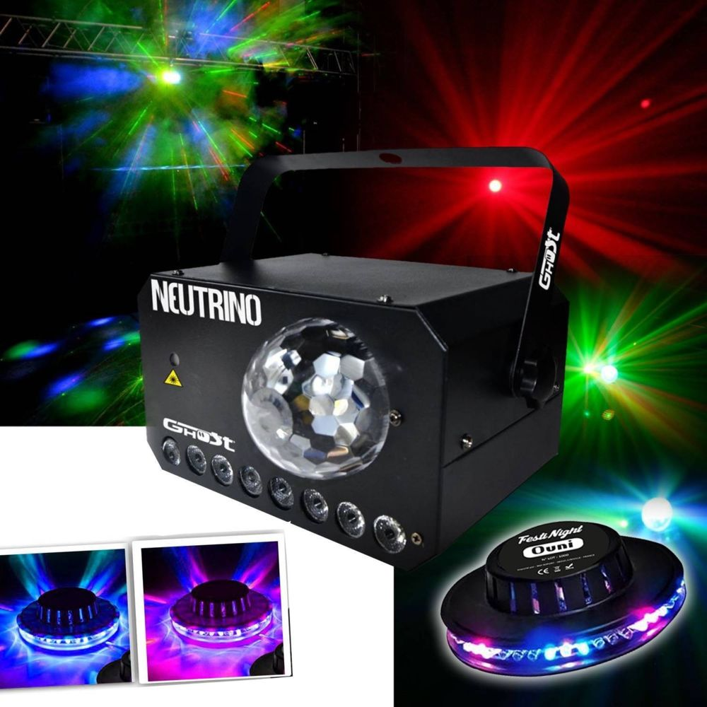 Ghost Jeu de lumière 3 en 1 - Strobe - Flower LEDs RGBW - Laser VERT/ROUGE + Effet OVNI