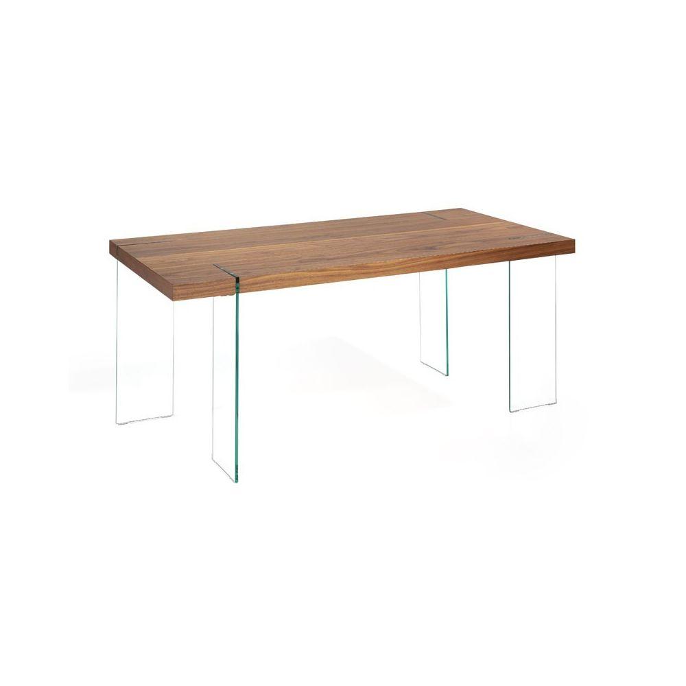 Tousmesmeubles Table de repas Noyer/Verre - LEVITY