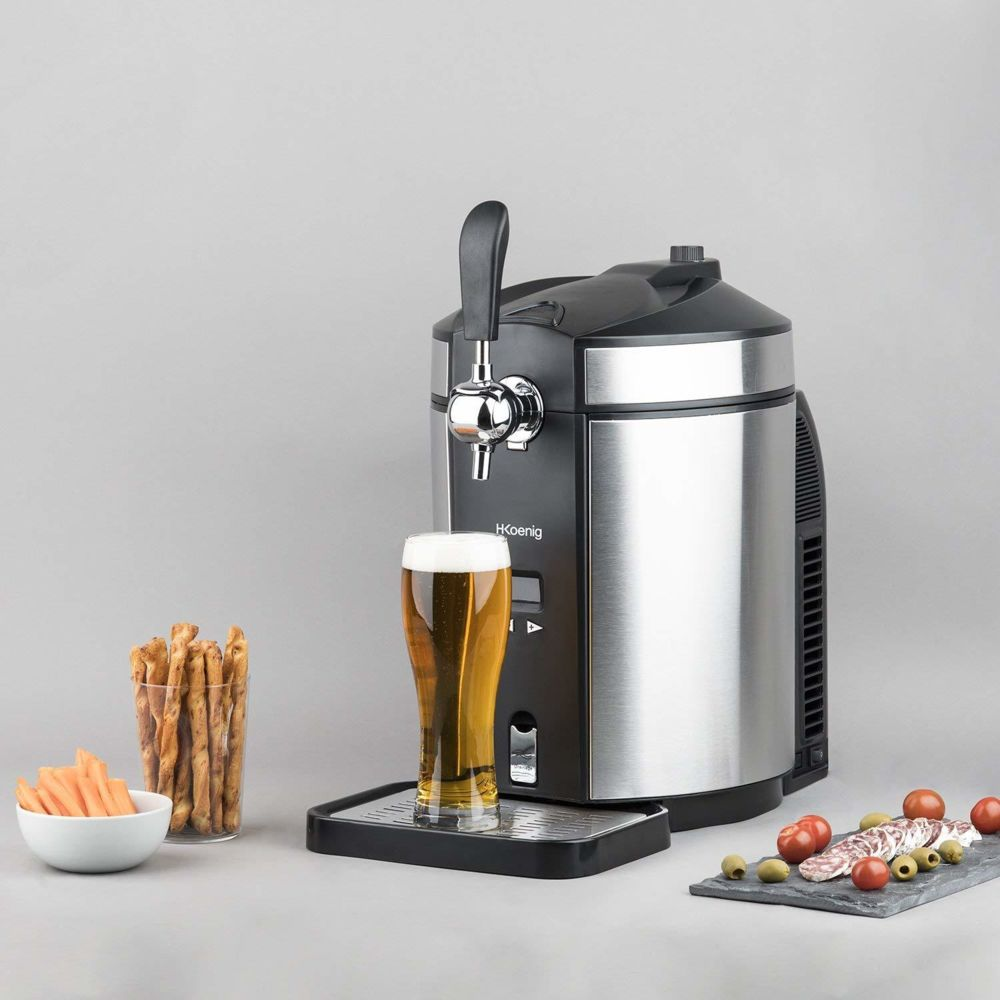 Koenig machine distributeur de bière tireuse de 5L avec Refroidissement intégré 2 à 12 °C 65W gris noir