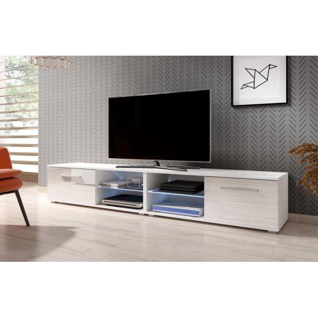 vivaldi meuble tv moon 2 double 200 cm blanc mat blanc brillant led