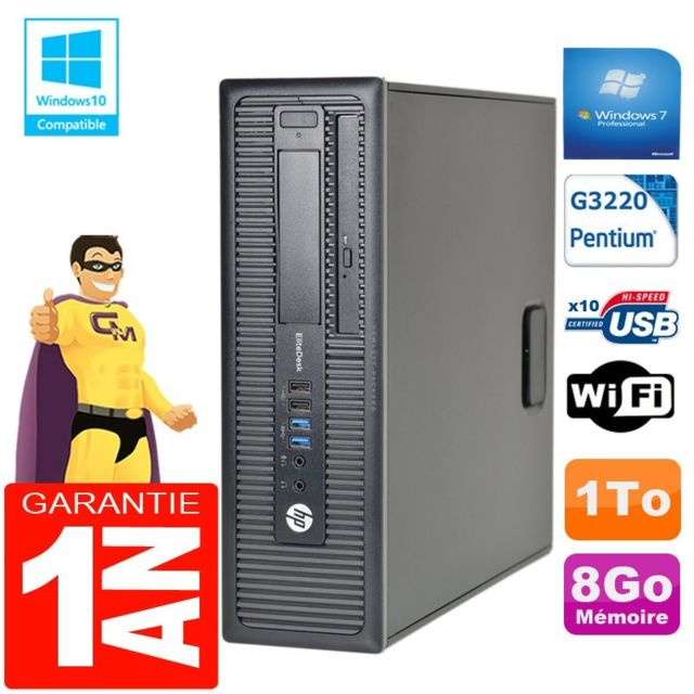 Hp - PC HP EliteDesk 800 G1 SFF Intel G3220 8Go Disque 1 To Graveur DVD Wifi W7 - PC Fixe Pc tour