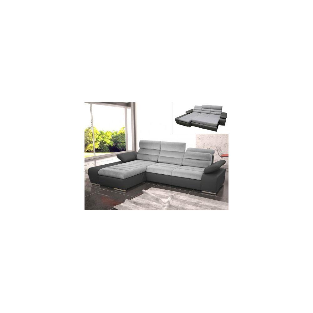 Vente-Unique Canapé d'angle convertible en tissu et simili MIRABEAU - Bicolore gris/anthracite - Angle gauche