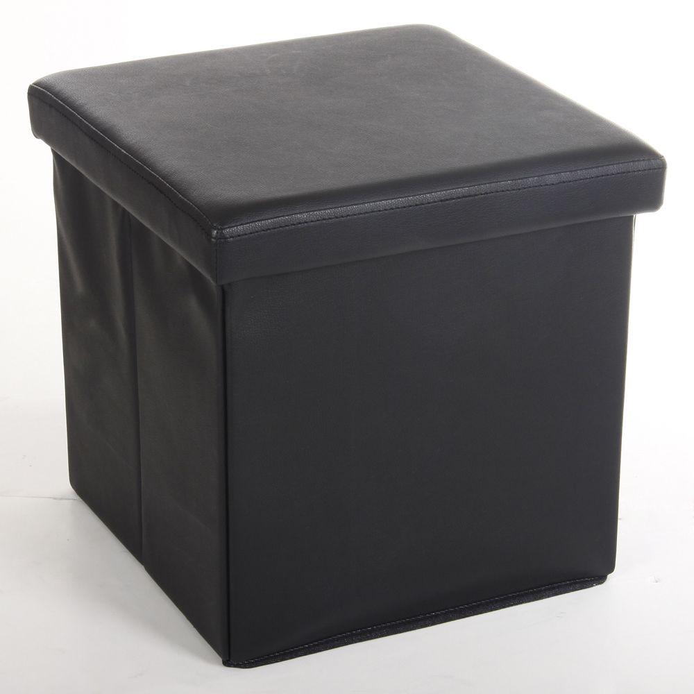 Pegane Pouf carré Lilo en Polyuréthane coloris noir, Dim : H37.5 x P38 x L38 cm