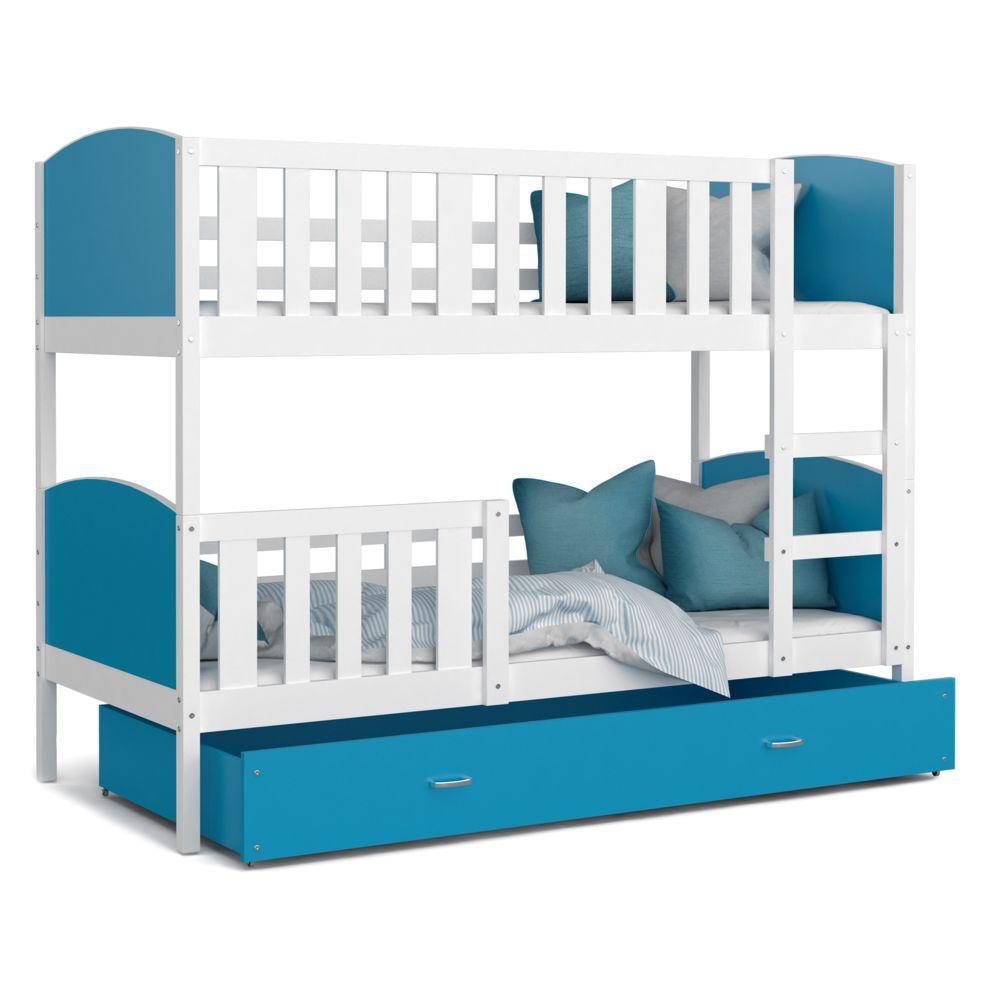Kids Literie Lit superpose Tomy 90x190 blanc bleu livré avec tiroir,2 sommiers et 2 matelas en mousse de 7cm offerts