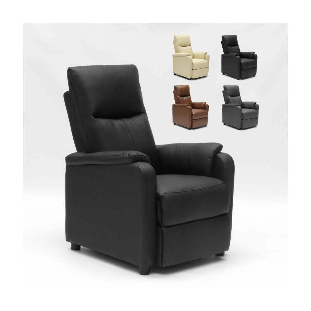 Produceshop Fauteuil relax inclinable avec repose-pieds en similcuir Giulia, Couleur: Noir