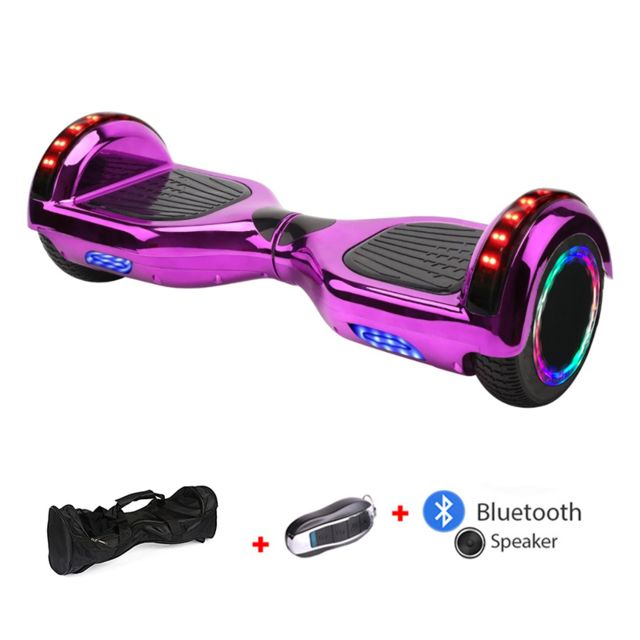 Mac Wheel - 6,5 pouces rose Hoverboard Gyropod Overboard Smart Scooter + Bluetooth + Sac + clé à distance + roue LED - Gyropode, Hoverboard