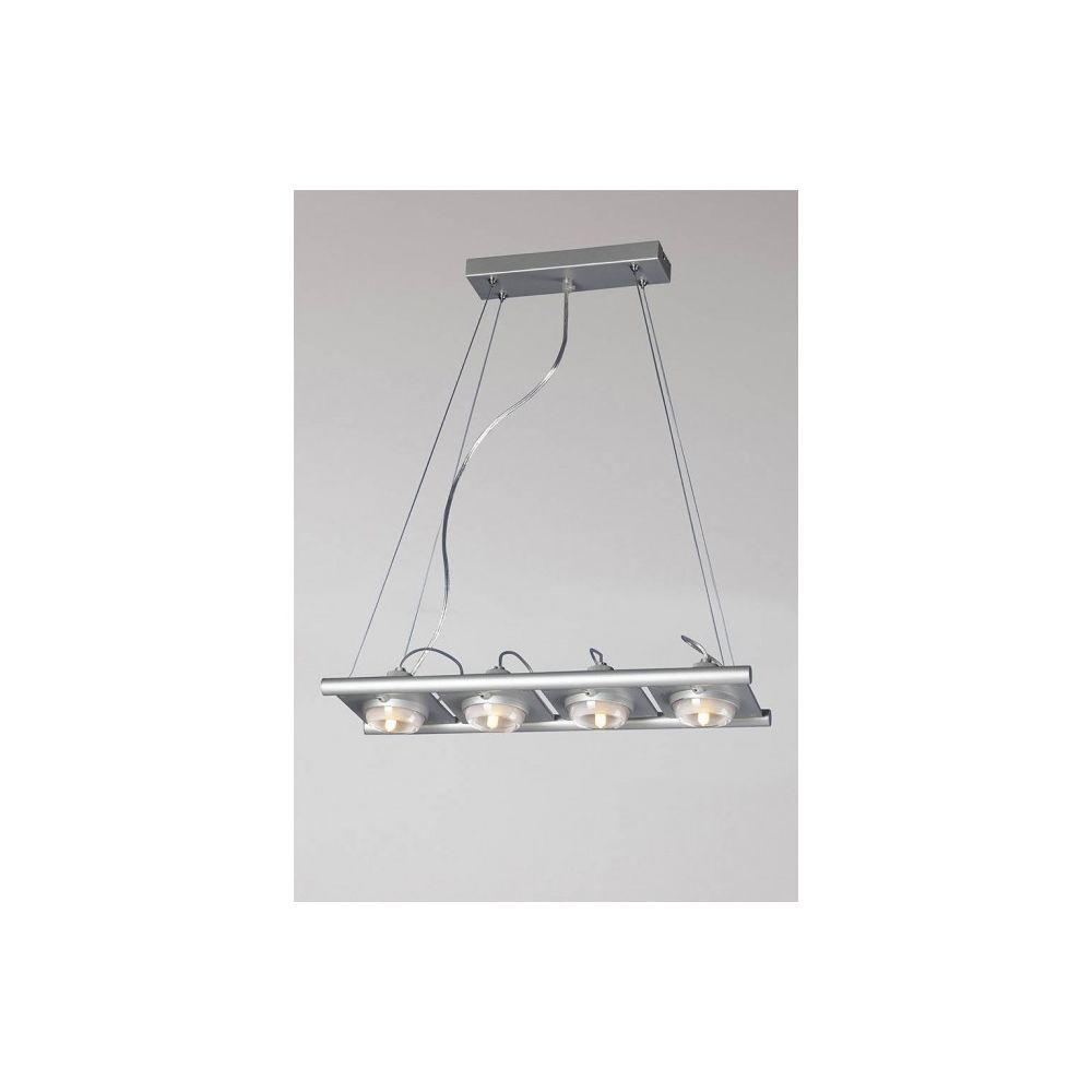 Luminaire Center Suspension Ull 4 Ampoules G9 gris argenté longueur 53,5 Cm