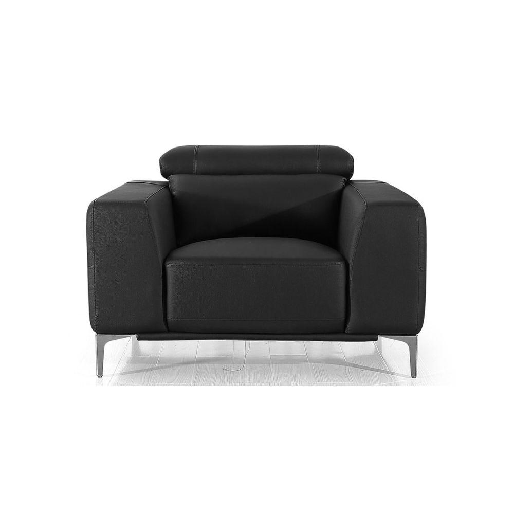 La Maison Du Canapé Fauteuil cuir Design NORA - {habillage_canape_cuir} - Noir