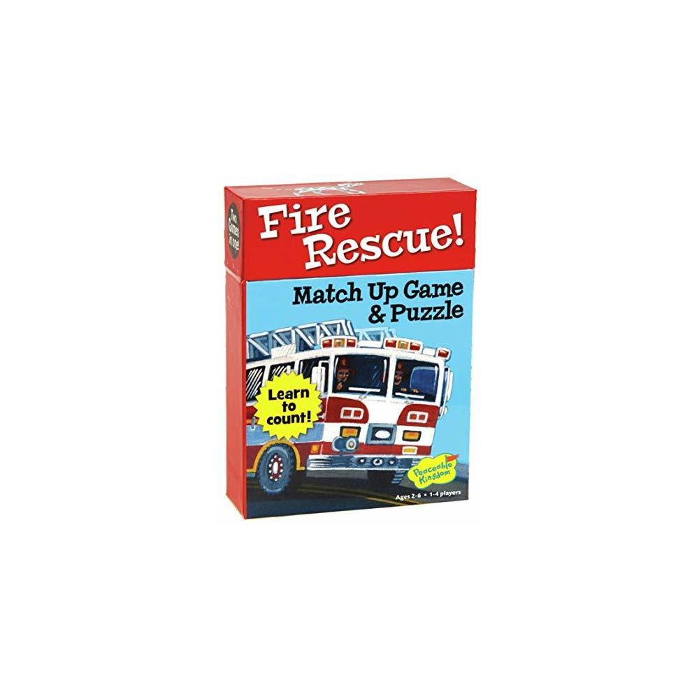 Peaceable Kingdom Peaceable Kingdom Fire Rescue 24 Card Number Match Up Memory Game and Floor Puzzle for Kids