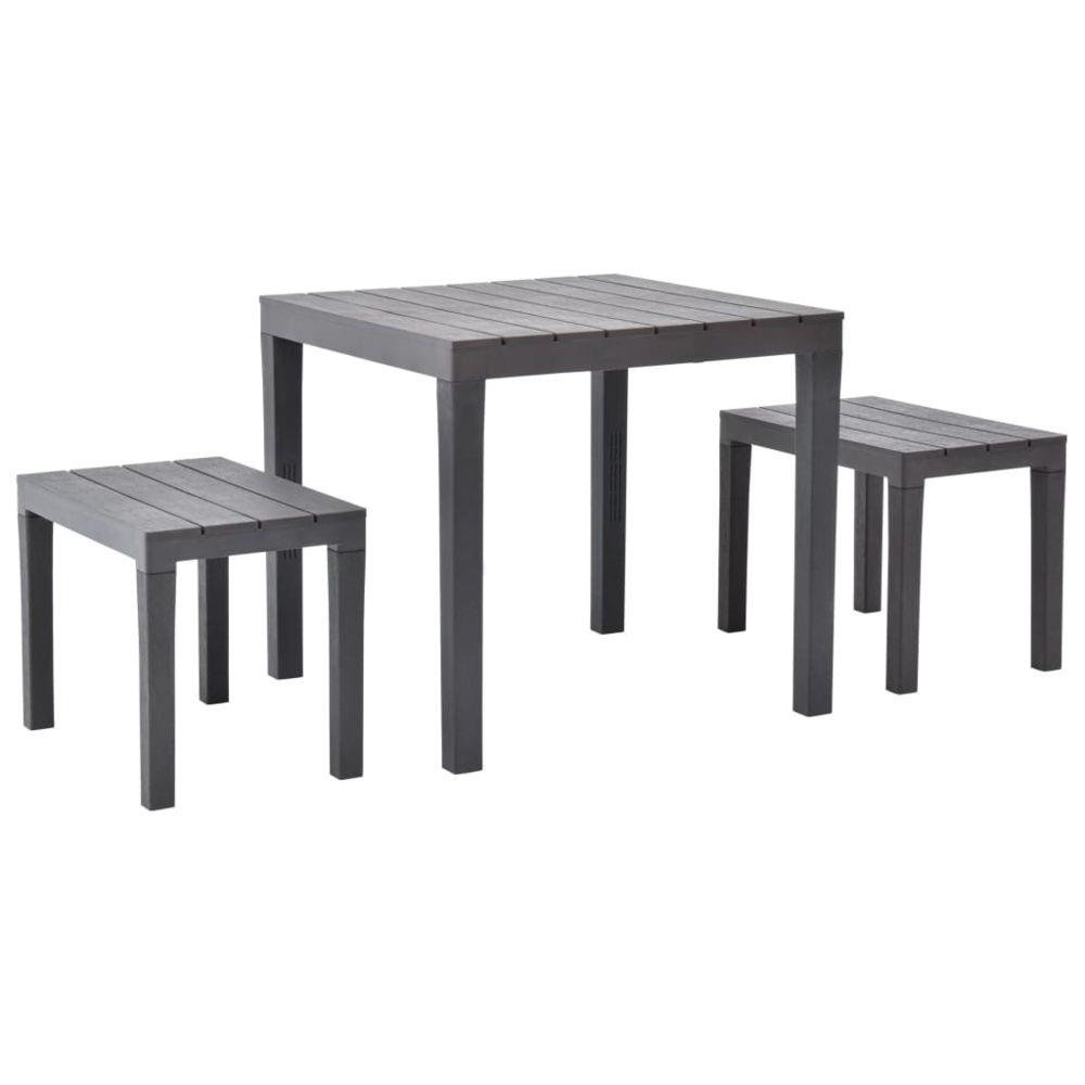 Vidaxl vidaXL Table de jardin avec 2 bancs Plastique Marron