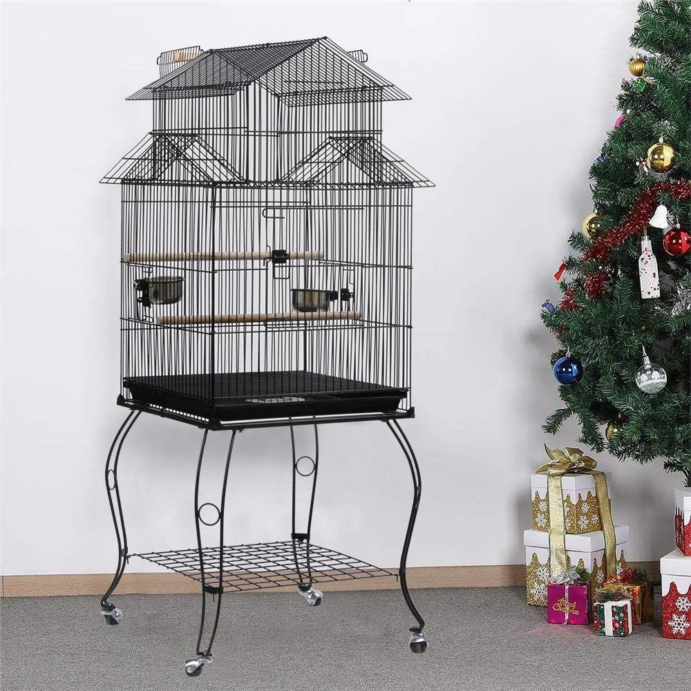 Jeobest Cage Oiseaux Volière Portable Design pour Perruche Calopsitte Canari Inséparable Mandarins 59 x 59 x 139,5 cm cm avec Su
