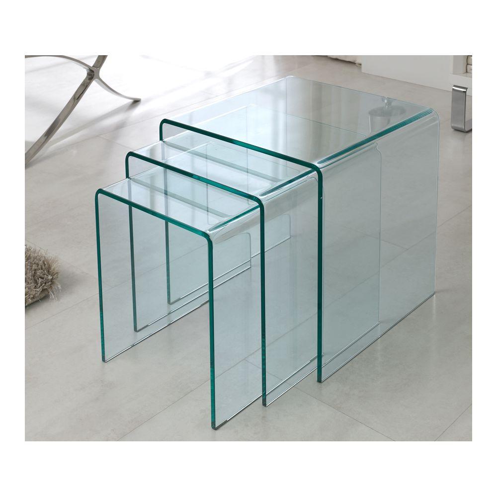 Sofamobili Table basse gigogne en verre blanc ou transparent LIGHT (jeux de 3)