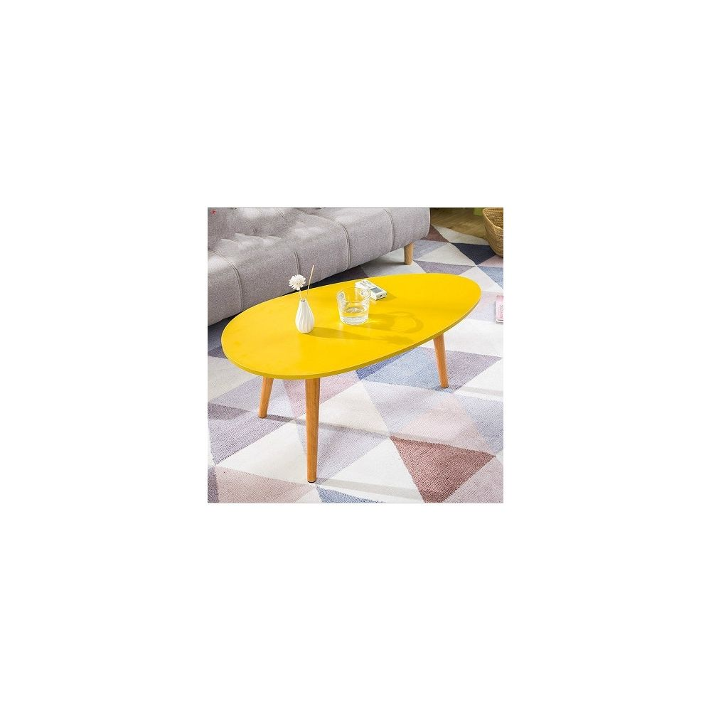 Wewoo Tables de café Meubles de Table basse ovale en bois massif avec de chevet et de travail jaune 90x50x42cm