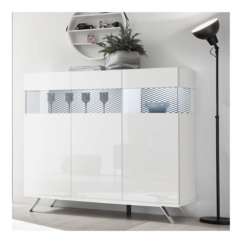 Sofamobili Buffet haut blanc et noir design avec LED ROSINI 3