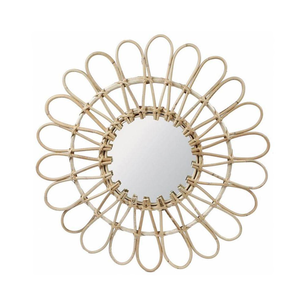 L'Héritier Du Temps Fantastique Miroir Tendance Grande Glace Décorative Ronde Design Fleur Armature Naturel en Rotin 3x65x65cm