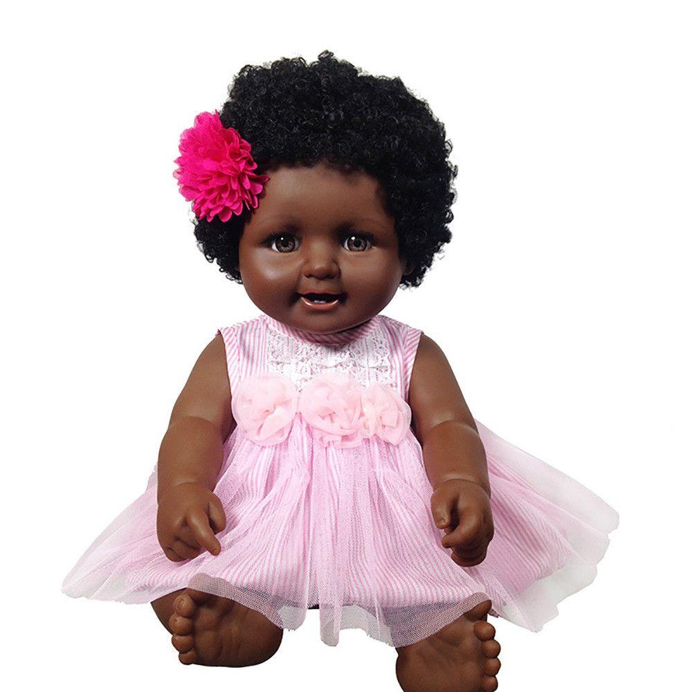 Generic - Peau noire Lifelike Réincarné Bébé Poupées Enfant Jouet Nouveau-né fille - Poupées