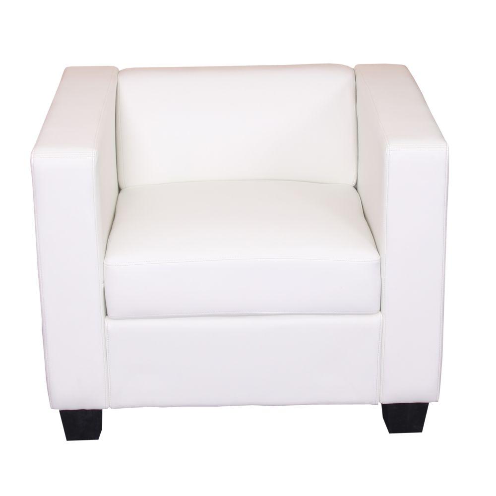 Mendler Fauteuil Club / Lounge Lille, 86x75x70cm, simili-cuir, blanc