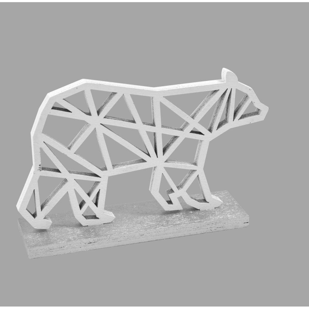 Visiodirect Lot de 10 Ours polaires déco en bois sur socle argenté - 10 x 6,5 x 2,5 cm