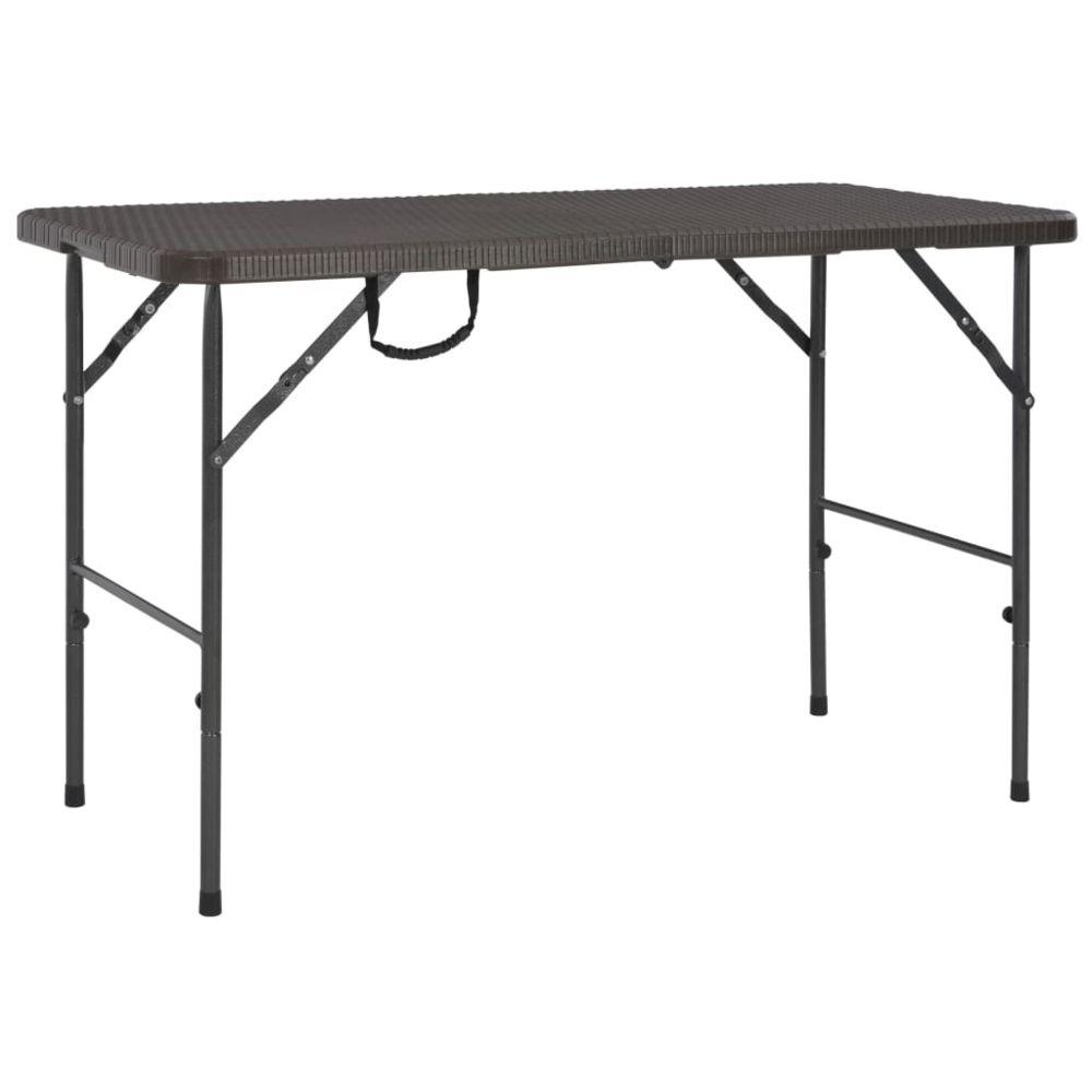 Vidaxl Table de jardin pliante HDPE Marron Aspect de rotin | Brun - Meubles de jardin - Tables d'extérieur | Brun | Brun