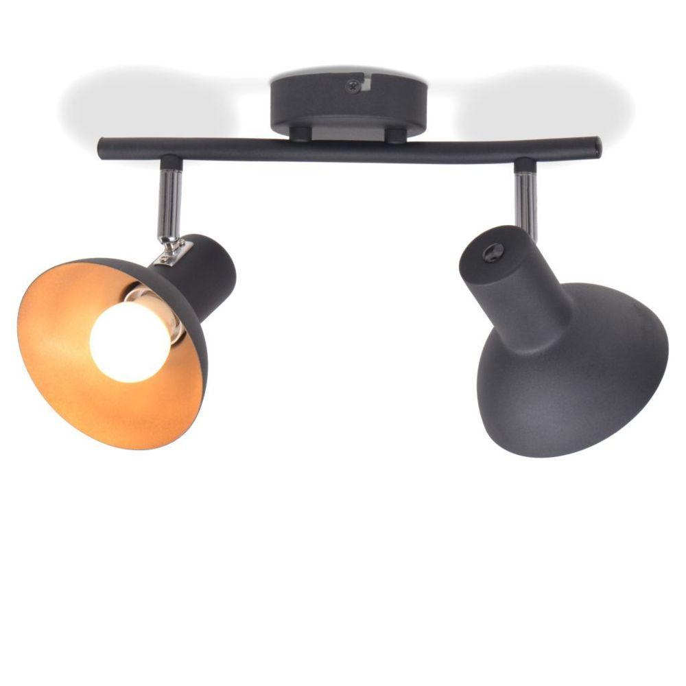 Vidaxl Plafonnier pour 2 ampoules E27 Noir et doré   Multicolore