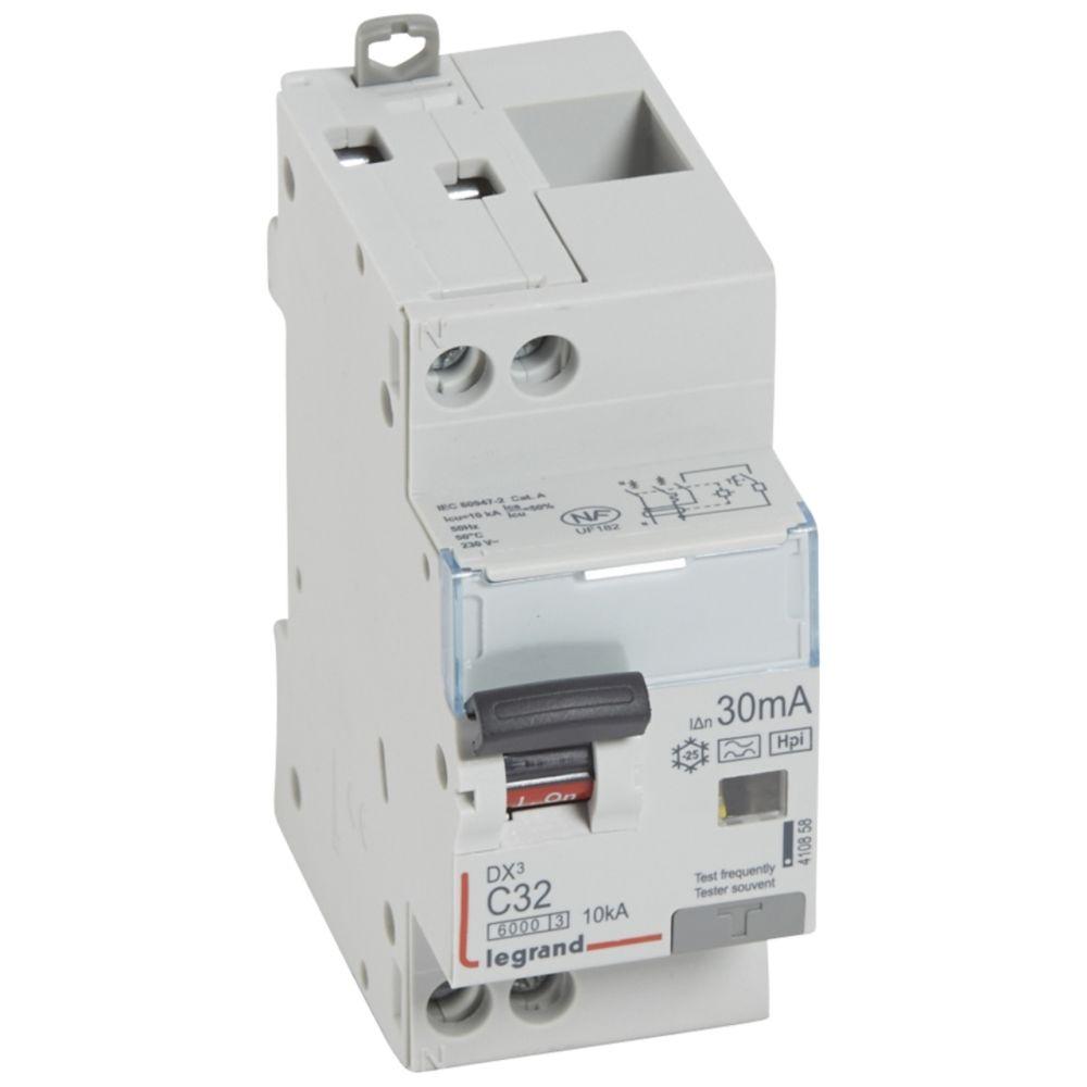 Legrand disjoncteur différentiel legrand dx3 32a courbe c 30ma 2 poles type hpi - vis / vis