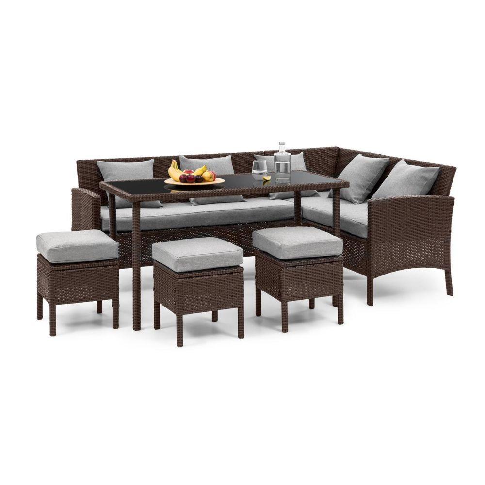 Blumfeldt Blumfeldt Titania Lounge Salon de jardin complet polyrotin marron & gris clair