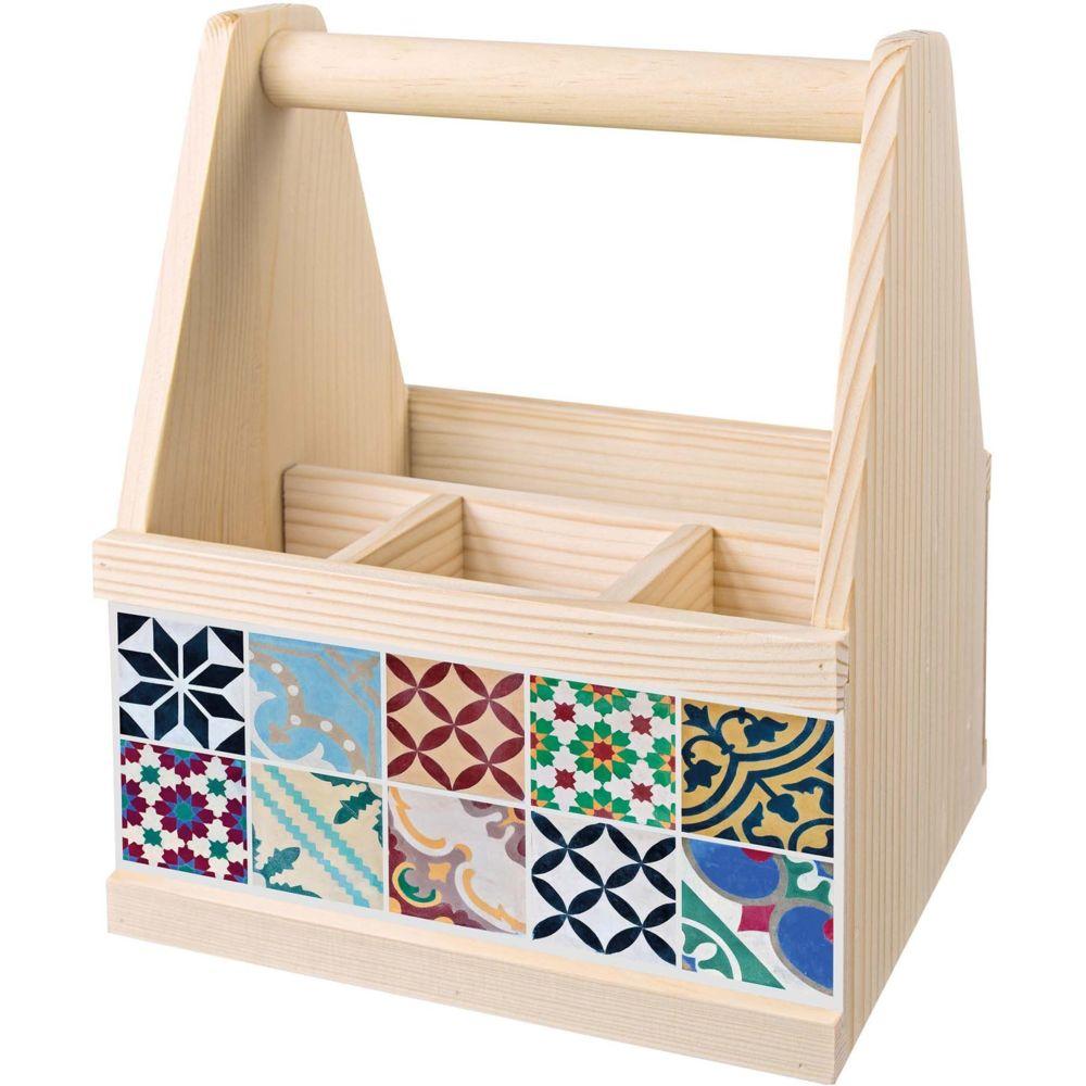 Contento Range-couverts en bois avec motif imprimé Carreaux de ciment