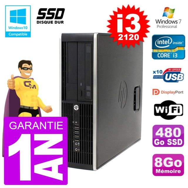 PC Fixe Hp PC HP 6200 SFF Intel i3-2120 RAM 8Go SSD 480Go Graveur DVD Wifi W7