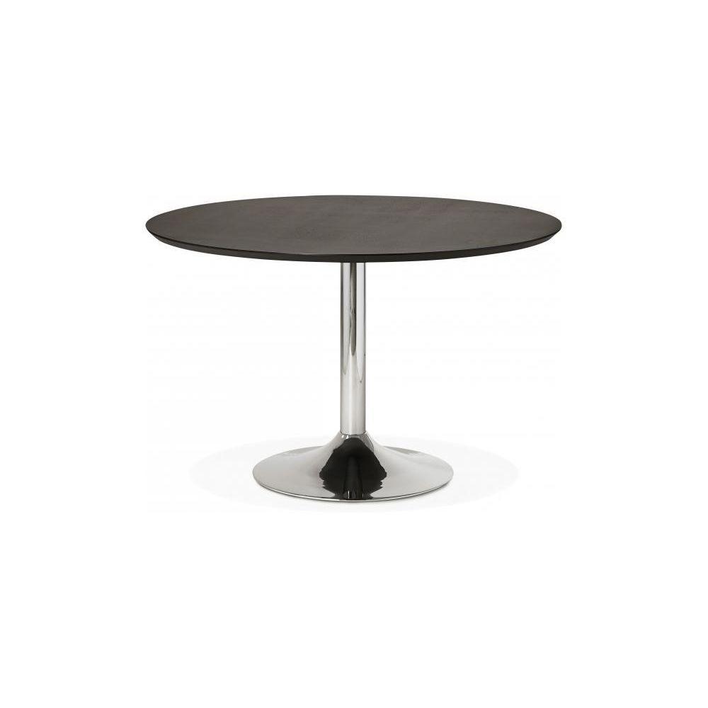 Declikdeco Table à Manger Ronde Noire Pied Métal D120 BARNET