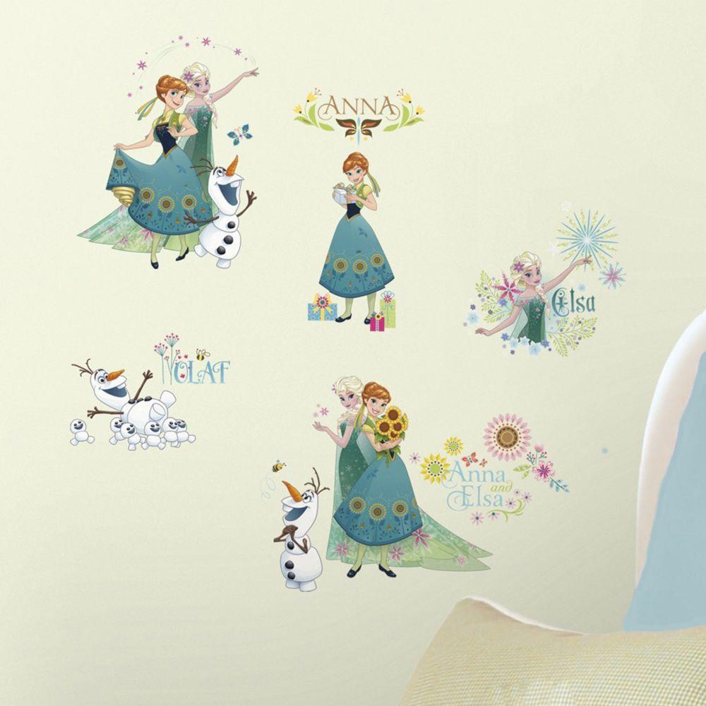Roommates 19 Stickers Printemps La Reine des Neiges Disney Frozen