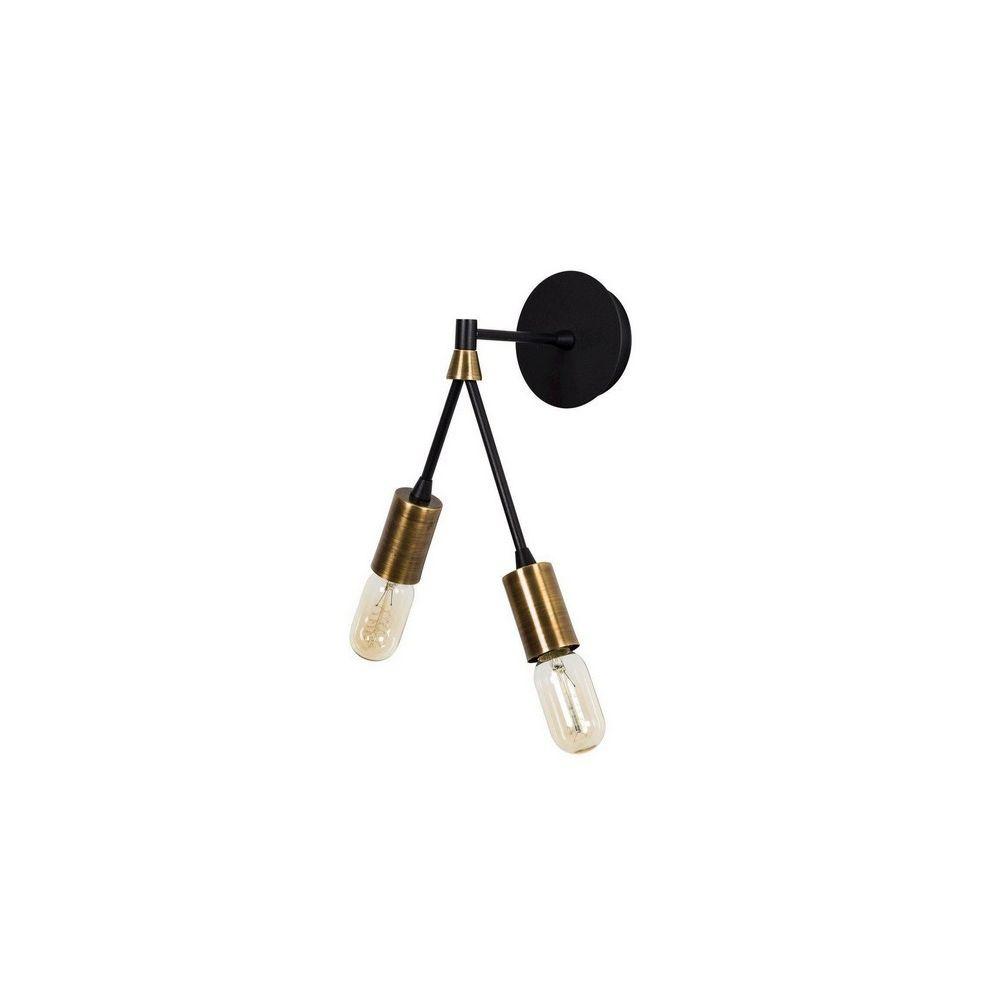 Homemania HOMEMANIA Lampe Murale Duos - Applique - Cuivre, noir en Métal, peinture électrostatique, 17 x 17 x 35 cm, 2 x E27, Max