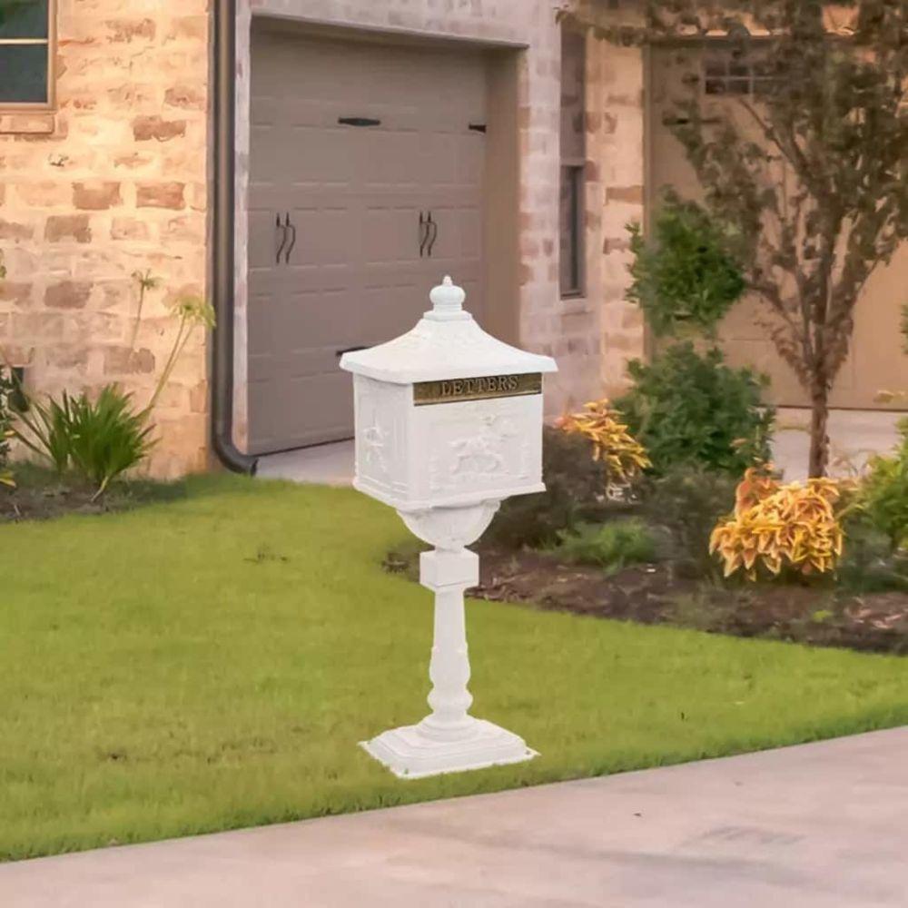 Vidaxl Boîte aux lettres sur pied Aluminium Vintage Antirouille Blanc - Maison et jardin/Décorations/Fentes à lettres   Blanc  