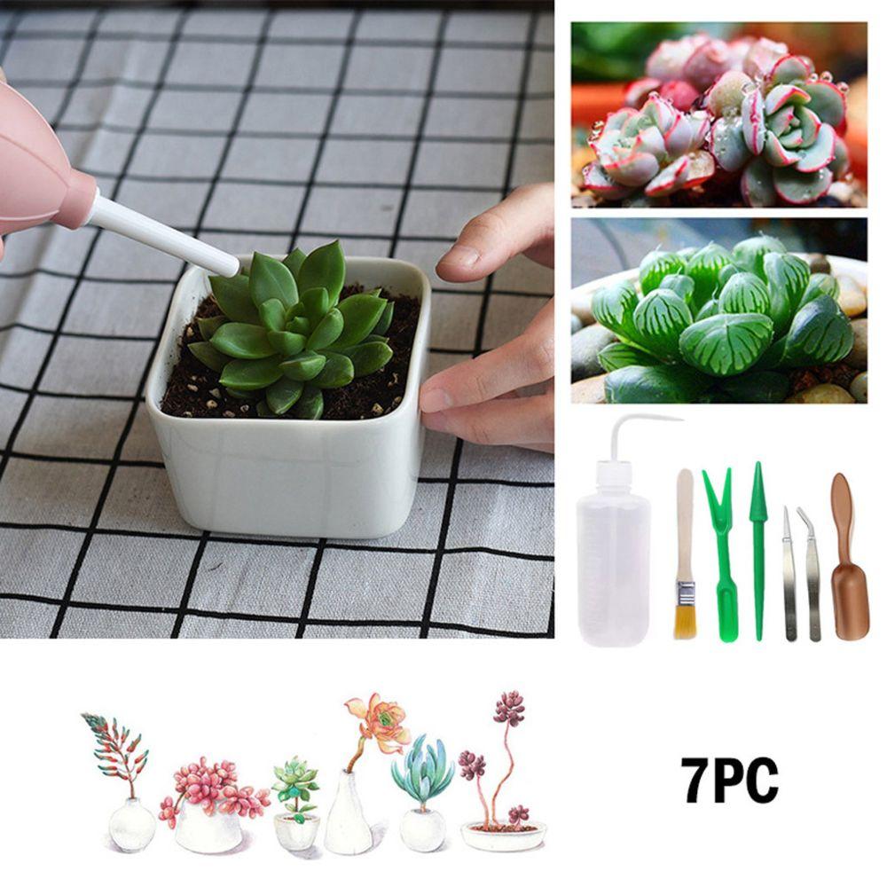 Generic Kit de transplantation succulente Miniature Fair y Garden Planting Hand Tools Set 7pcs - blanc