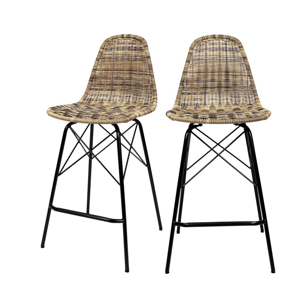 Rendez Vous Deco Chaise de bar mi-hauteur Tiptur en résine tressée naturelle 63 cm (lot de 2)