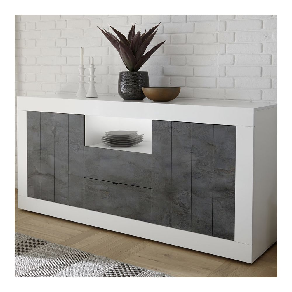 Sofamobili Enfilade 180 cm moderne blanc et anthracite SERENA 6