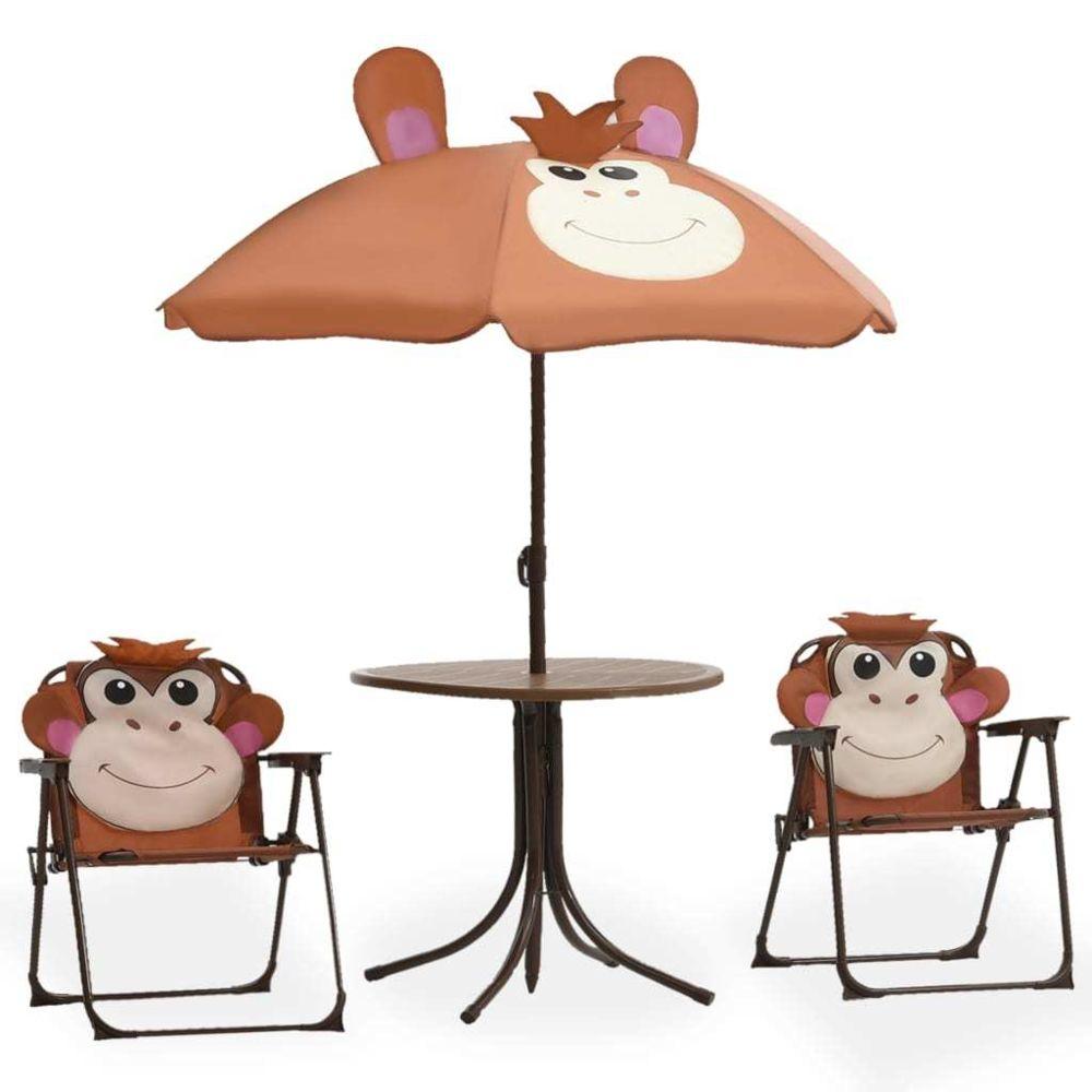 Vidaxl vidaXL Jeu de bistro avec parasol pour enfants 3 pcs Marron