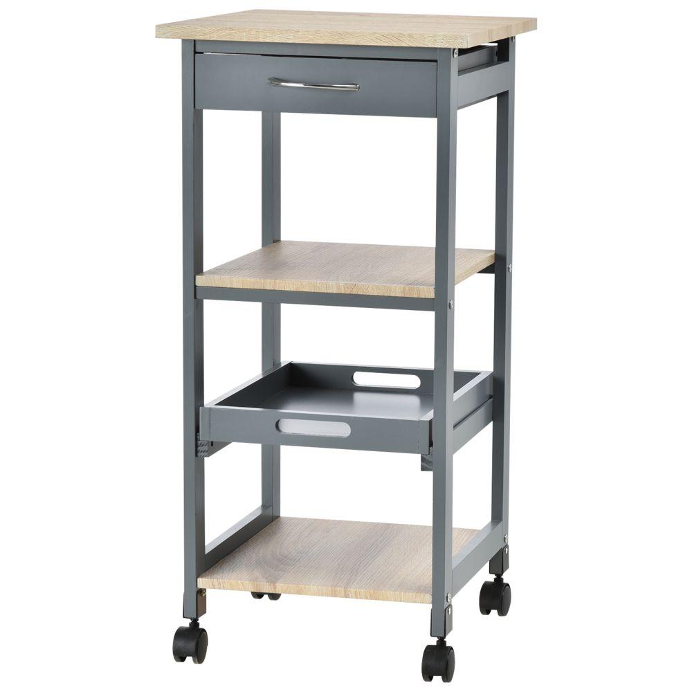 Homcom Chariot de service desserte de cuisine à roulettes 2 étagères + plateau amovible + tiroir bois de pin MDF gris chêne cla