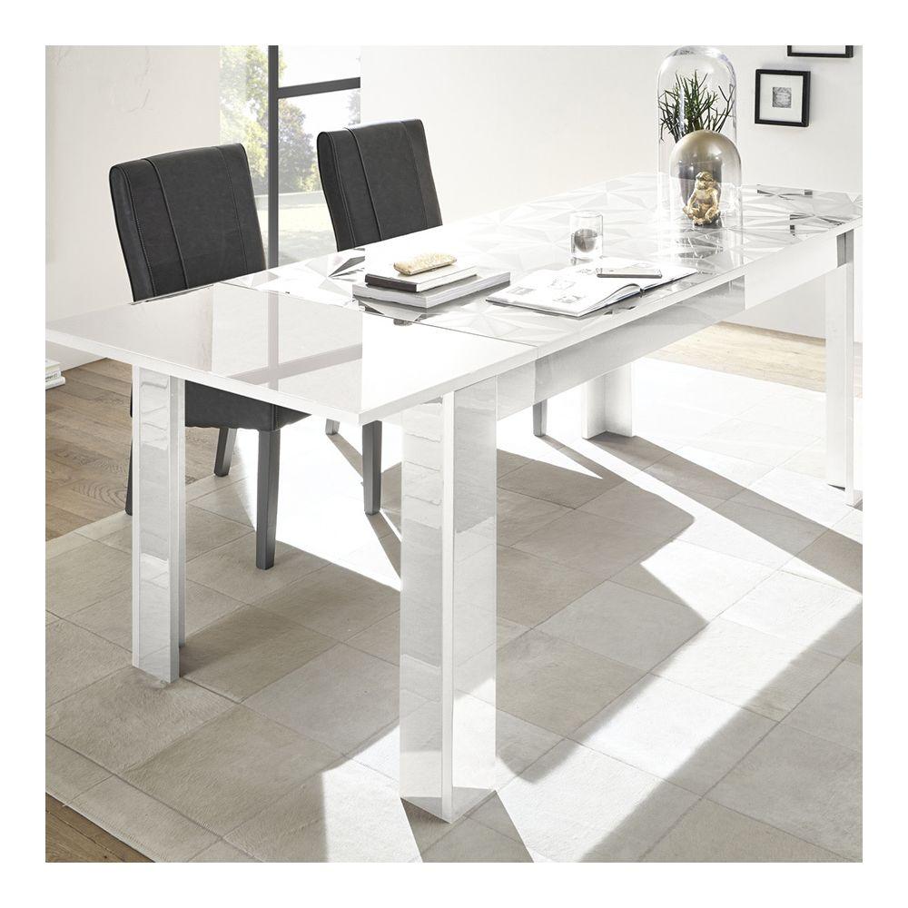 Sofamobili Table avec rallonge 180 cm blanc laqué design ANTONIO