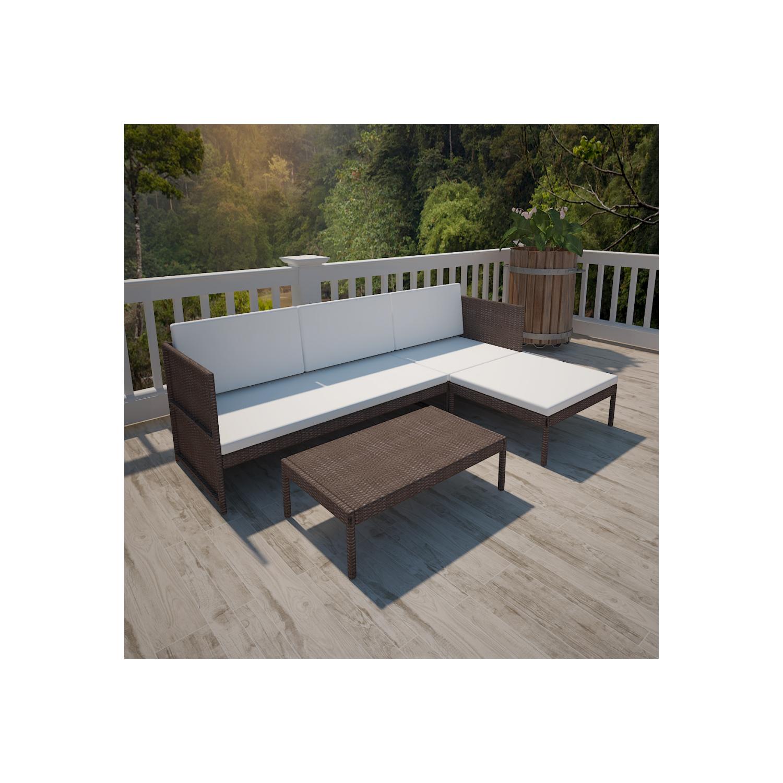 Vidaxl vidaXL Salon d'extérieur marron avec canapé 3 places en polyrotin