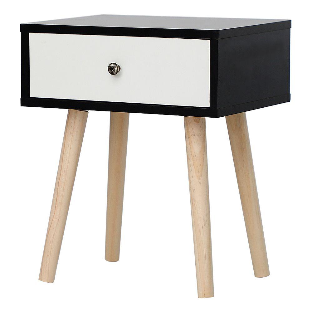Ltppstore Table de chevet simple scandinave avec tiroirs coulissants Table de chevet scandinave noir-blanc clair laqué satiné