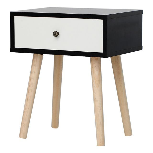 Ltppstore - Table de chevet simple scandinave avec tiroirs coulissants Table de chevet scandinave noir-blanc clair laqué satiné - Chevet