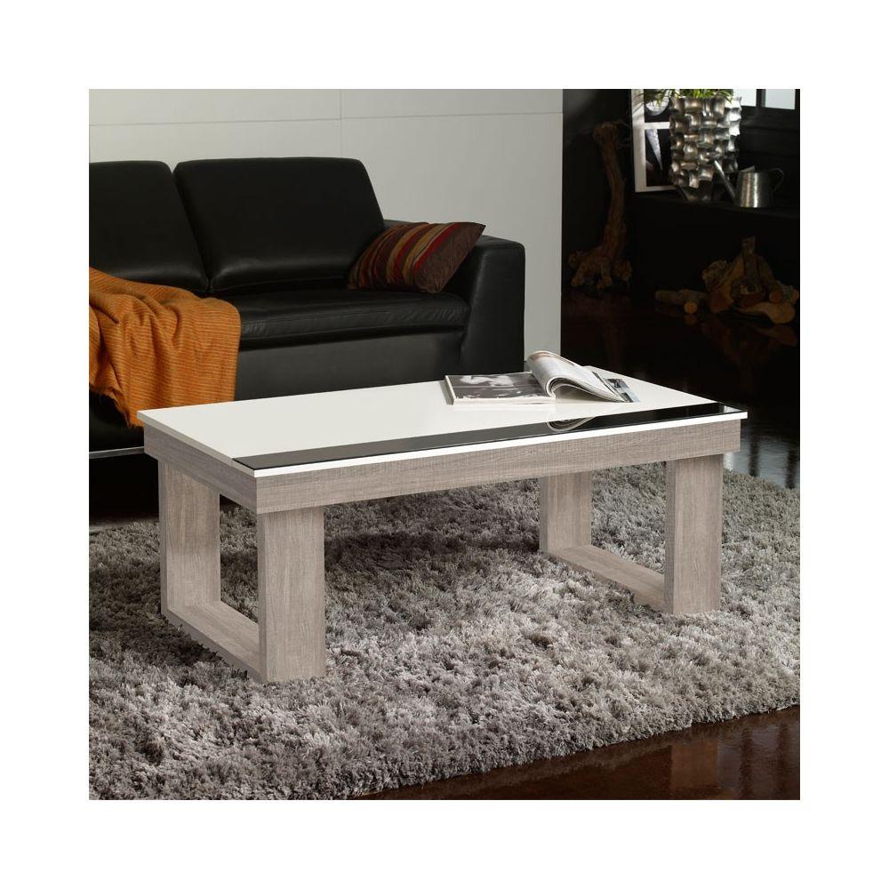 Tousmesmeubles Table basse relevable Chêne clair/Blanc - UPTO