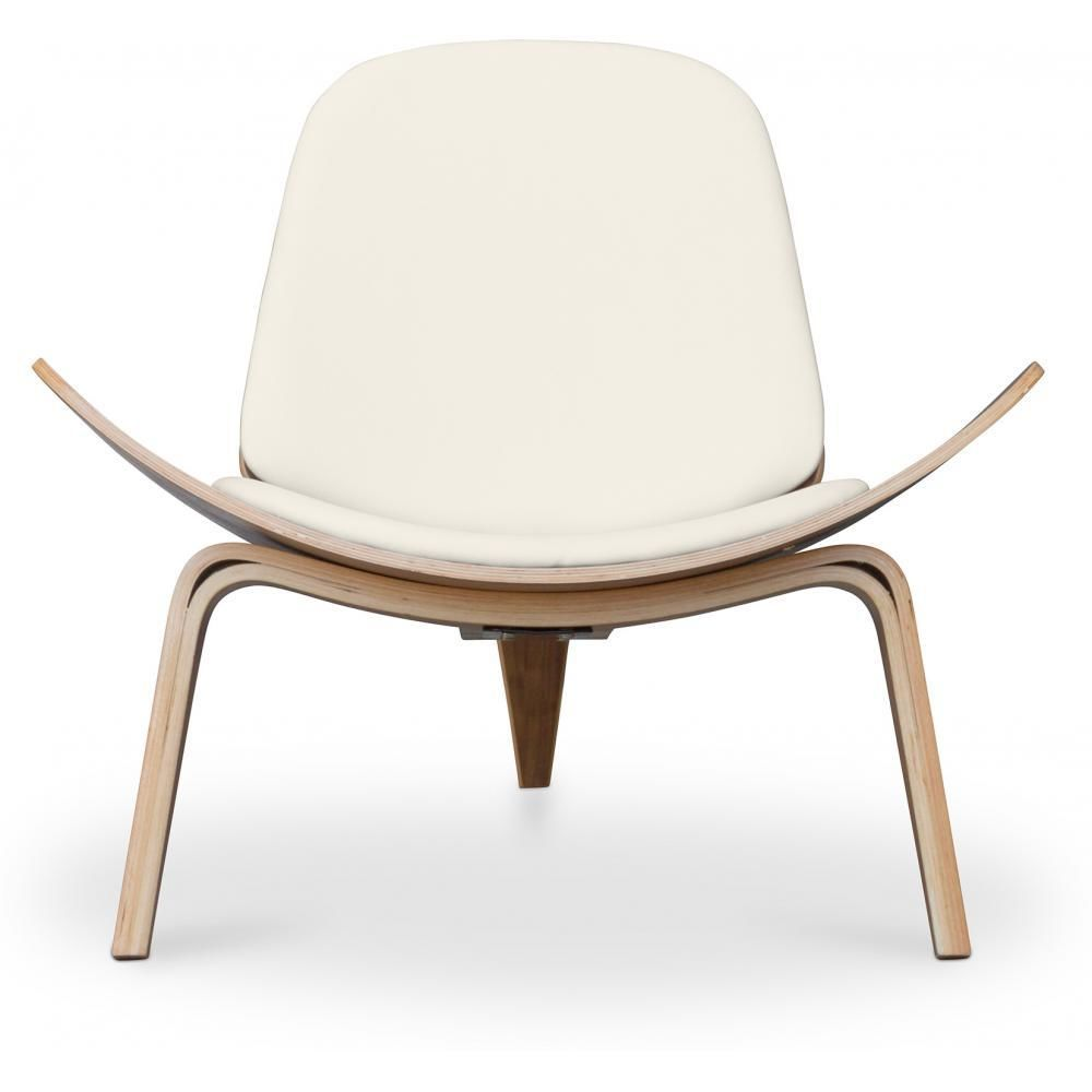 Privatefloor Fauteuil lounge CH07 Design scandinave - Style Hans J. Wegner - Simili Cuir