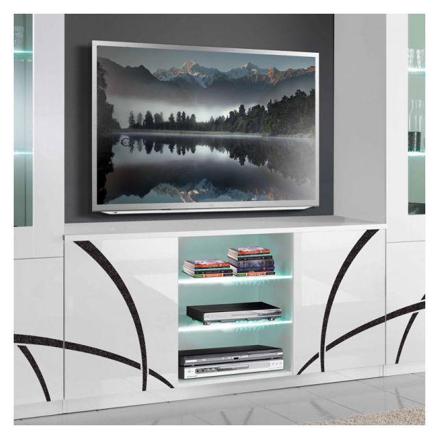 meuble tv 2 portes blanc blanc a leds cross l 150 x l 47 x h 70 cm