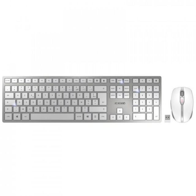 Cherry - DW 9000 SLIM - Pack Clavier + Souris 6 boutons et molette - Batteries au Lithium regarcheables - Bluetooth et USB - Blanc - Pack Clavier Souris