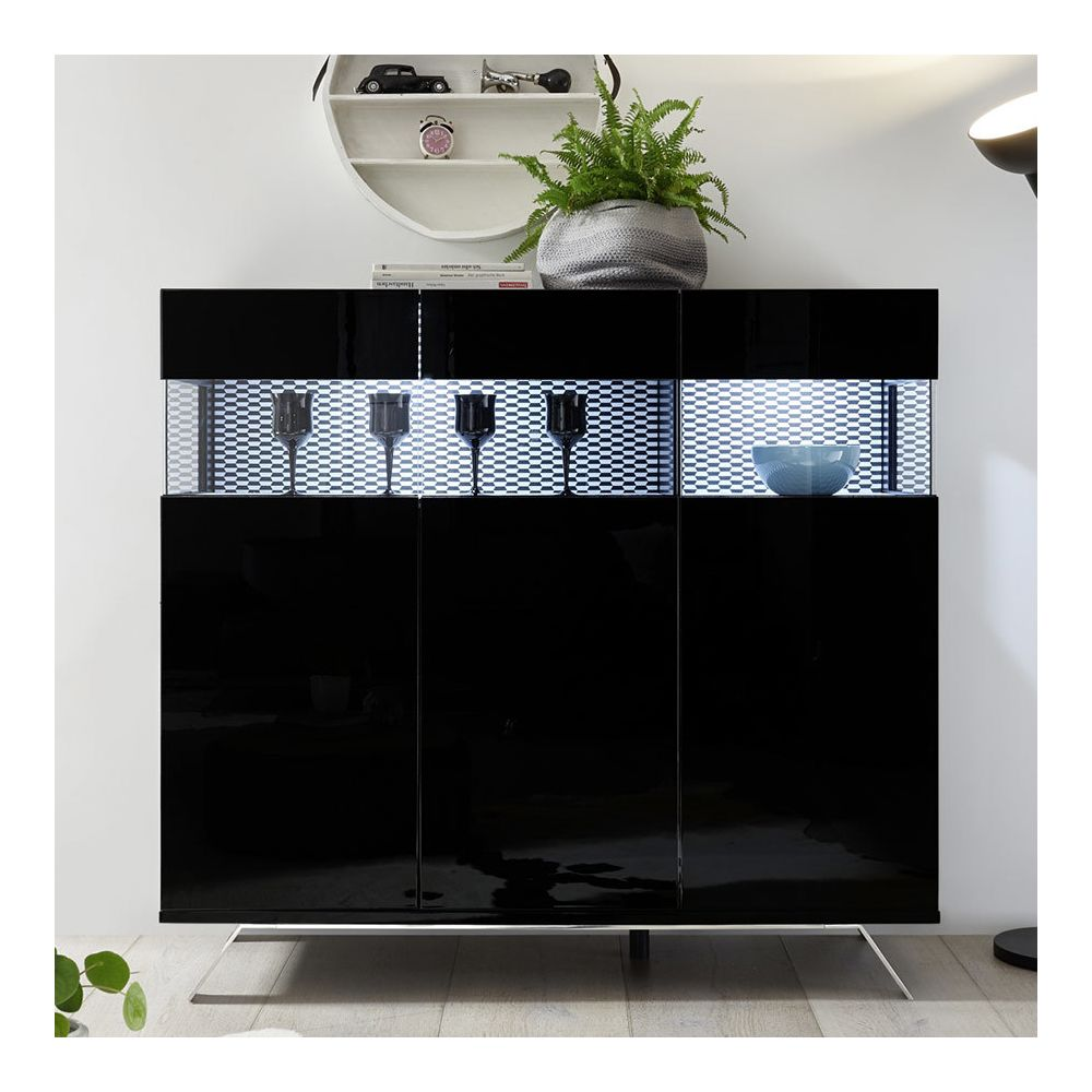 Sofamobili Bahut haut design noir laqué lumineux ROSINI 7