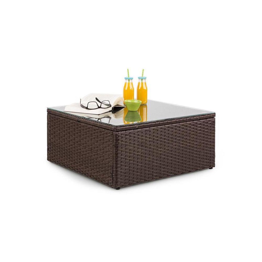 Blumfeldt Blumfeldt Theia Table de salon de jardin en polyrotin plateau en verre - Marron