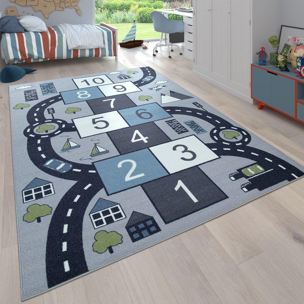 Paco-Home Tapis pour enfants, Tapis de jeu pour chambres d'enfants, Boîtes gonflables et rues, Gris