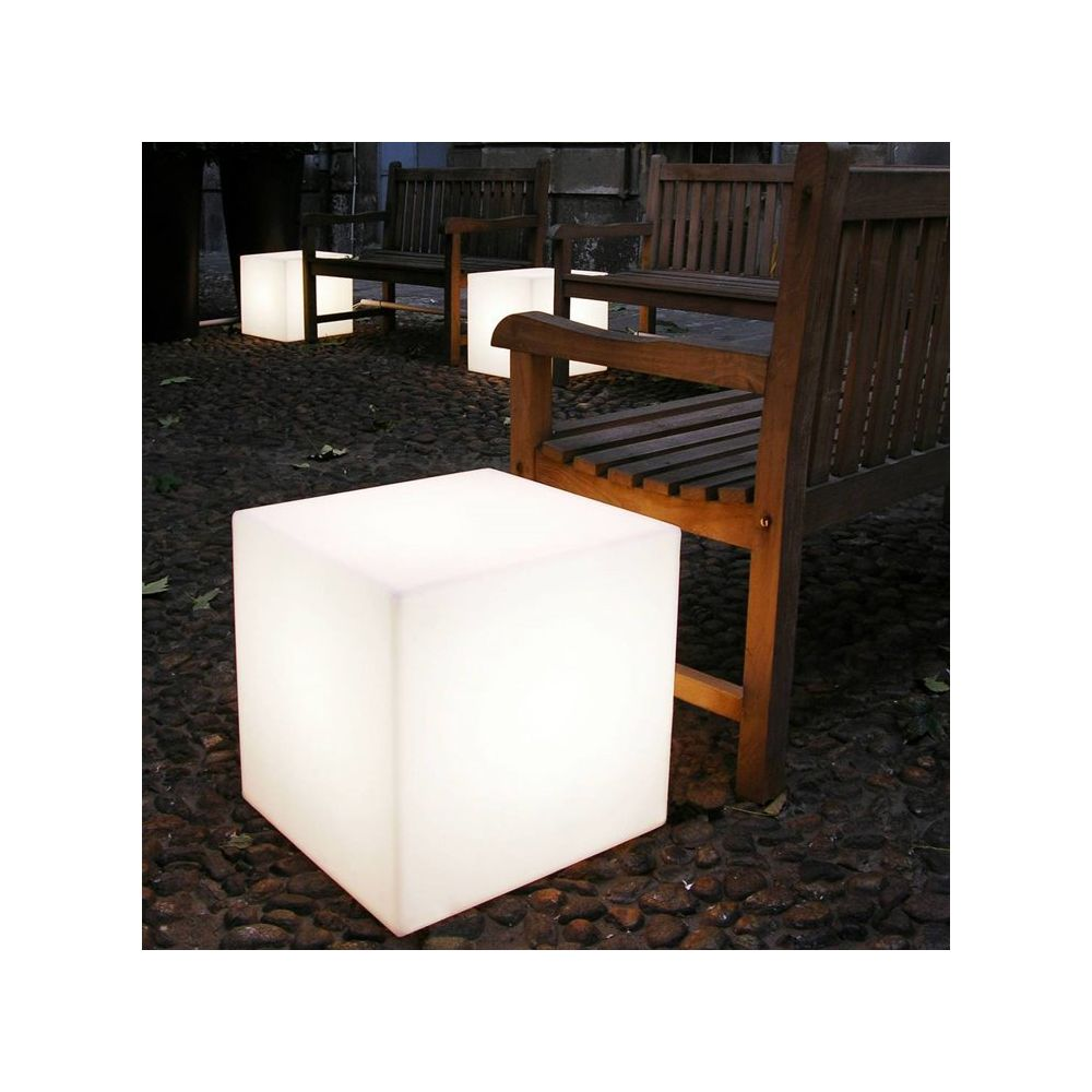 Slide CUBO-Cube lumineux d'extérieur H60cm Blanc Slide