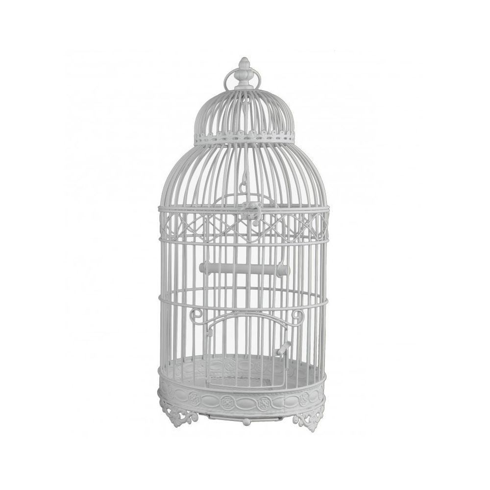 L'Héritier Du Temps Grande Cage à Oiseaux de Jardin Intérieur Extérieur Ronde en Fer Patiné Blanc 25x25x56cm